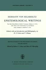 Epistemological Writings - Robert S. Cohen; H. von Helmholtz; Malcolm F. Lowe; Y. Elkana